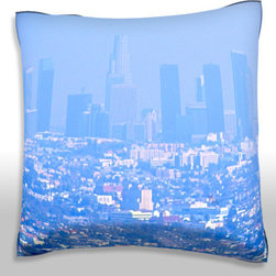Custom Photo Factory - Haze and smog downtown Los Angeles Polyester Velour Throw Pillow - Haze and smog covers the skyline of downtown Los Angeles, CA 18 x 18 Inches  Made in Los Angeles, CA, Set includes: One (1) pillow. Pattern: Full color dye sublimation art print. Cover closure: Concealed zipper. Cover materials: 100-percent polyester velour. Fill materials: Non-allergenic 100-percent polyester. Pillow shape: Square. Dimensions: 18.45 inches wide x 18.45 inches long. Care instructions: Machine washable