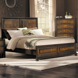 Woodbridge Home Designs - Brumley Panel Bed - Features: -Asymmetrical walnut veneers are punctuated by burl veneer centers.-Raised veneer panels on both the headboard.-Stylized hardwood framing, along with square contemporary hardware.-Brumley Collection.-Powder Coated Finish: No.-Gloss Finish: No.-Finish: Brown.-Frame Material: Wood; Manufactured wood -Frame Material Details: Poplar and MDF..-Solid Wood Construction: No.-Upholstered: No.-Non Toxic: Yes.-Scratch Resistant: No.-Joinery Type: Groove.-Mattress Included: No.-Recommended Mattress Height: 8.-Headboard Storage: No.-Footboard Storage: No.-Underbed Storage: No.-Slats Required: Yes -Number of Slats Required: 3.-Slats Included: Yes..-Center Support Legs: Yes.-Adjustable Headboard Height: Yes.-Adjustable Footboard Height: No.-Wingback: No.-Trundle Bed Included: No.-Attached Nightstand: No.-Cable Management: No.-Built in Outlets: No.-Lighted Headboard: No.-Finished Back: No.-Reclaimed Wood: No.-Number of Center Support Legs: 2.-Distressed: No.-Bed Rails Included: Yes.-Collection: Brumley.-Eco-Friendly: Yes.-Recycled Content: Yes -Total Recycled Content (Percentage): 70%.-Post-Consumer Content (Percentage): 30%.-Remanufactured/Refurbished : No..-Wood Moldings: No.-Canopy Frame: No.-Hidden Storage: No.-Jewelry Compartment: No.-Weight Capacity: 550.-Swatch Available: No.-Commercial Use: No.Specifications: -FSC Certified: No.-EPP Compliant: Yes.-CPSIA or CPSC Compliant: No.-CARB Compliant: Yes.-JPMA Certified: No.-ASTM Certified: No.-ISTA 3A Certified: No.-PEFC Certified: No.-General Conformity Certificate: No.-Green Guard Certified: No.Dimensions: -Overall Height - Top to Bottom (Size: California King): 54.25.-Overall Height - Top to Bottom (Size: Full): 54.25.-Overall Height - Top to Bottom (Size: King): 54.25.-Overall Height - Top to Bottom (Size: Queen): 54.25.-Overall Height - Top to Bottom (Size: Twin): 54.25.-Overall Width - Side to Side (Size: California King): 76.-Overall Width - Side to Side (Size: Full): 58.-Overall Width - Side to Side (Size: King): 80.-Overall Width - Side to Side (Size: Queen): 64.-Overall Depth - Front to Back (Size: King): 84.-Overall Depth - Front to Back (Size: Queen): 84.-Overall Product Weight (Size: California King): 119.9.-Overall Product Weight (Size: Full): 97.9.-Overall Product Weight (Size: King): 127.6.-Overall Product Weight (Size: Queen): 105.6.-Overall Product Weight (Size: Twin): 82.4.-Headboard Dimensions Height (Size: California King): 54.25.-Headboard Dimensions Height (Size: Full): 54.25.-Headboard Dimensions Height (Size: King): 54.25.-Headboard Dimensions Height (Size: Queen): 54.25.-Headboard Dimensions Height (Size: Twin): 54.25.-Headboard Width Side to Side (Size: California King): 76.-Headboard Width Side to Side (Size: Full): 58.-Headboard Width Side to Side (Size: King): 80.-Headboard Width Side to Side (Size: Queen): 64.-Headboard Depth Front to Back (Size: California King): 4.-Headboard Depth Front to Back (Size: Full): 4.-Headboard Depth Front to Back (Size: King): 4.-Headboard Depth Front to Back (Size: Queen): 4.-Footboard Height (Size: California King): 17.-Footboard Height (Size: Full): 17.-Footboard Height (Size: King): 17.-Footboard Height (Size: Queen): 17.25.-Footboard Height (Size: Twin): 17.25.-Footboard Width - Side