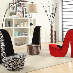 None - High Heel Shoe Fabric Chair - Give your space a bold,trendy style with this cute high-heeled shoe chair. Comfortable and in your choice of two animal prints or a bold red,this unique chair is designed to give your decor that extra zing.