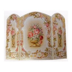 "Stupell Industries - Victorian Floral 3 Panel Decorative Fireplace Screen - Decorative and functional. Made in USA. Original Stupell art. 44 in. W x 31 in. H (Approx.). 0.5 in. ThickA fireplace screen from ""The Stupell Home decor Collection"" will be the focal point of any room and the beautiful color and design will immediately enhance your hearth and it's surroundings. Both functional and decorative, this one of kind screen will keep your fireplace out of sight when it's not in use. This piece is handcrafted from original artwork by English muralist Julie Perren. A lithograph is laminated on sturdy 1/2'' thick mdf fiberboard and the sides are hand painted. The item is already assembled in the box and ready to be put in front of the fireplace. Made in USA."