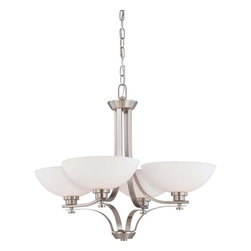Illumine - Illumine Chandeliers 4-Light Brushed Nickel Chandelier with Frosted Glass Shade - Shop for Lighting & Ceiling Fans at The Home Depot. Would you call them classic or contemporary simple or stylish elegant or understated probably all of the above. This collection is nothing if not versatile. With chandeliers semi-flush domes pendants and 1 to 3-light vanities beautifully finished in brushed nickel or hazel bronze and accented by frosted glass there is a fixture to add just the right design touch to any kitchen bath or dining room.