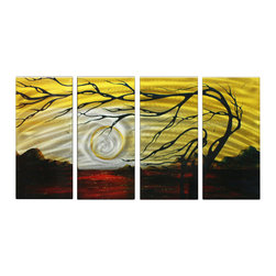 Matthew's Art Gallery - Metal Wall Art Abstract Modern Contemporary Sculpture Decor Yellow Black Tree - Name: Yellow Black Tree