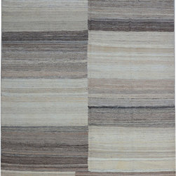 "ALRUG - Handmade Beige/Brown Oriental Kilim  6' 11"" x 10' 4"" (ft) - This Afghan Kilim design rug is hand-knotted with Wool on Wool."