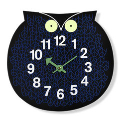 Nelson Zoo Timer Omar the Owl Clock - hivemodern.com - Hoot Hoot! It's time to add some whimsical cheer to your wall with this Omar the Owl clock designed by George Nelson.