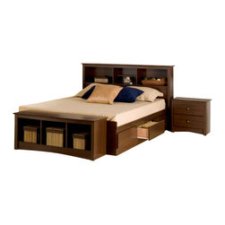 Prepac Furniture - Prepac Fremont 4 PC Queen Size Storage Bedroom Set in Espresso (Bed, Two Nightst - The Fremont 4 Pcs Queen Size Storage Bedroom Set in Espresso (Bed, Two Nightstands and Dresser) - Prepac Furniture brings simple elegance to any bedroom or living space! Six large drawers, positioned three on each side below the bed, are easy to access and accommodate clothing, or anything you need to store. Linens, blankets and magazines are just a few ideas. Other highlights include solid antique bronze-finished knobs and drawers that run on smooth, all-metal roller glides with built-in safety stops. It is made from durable composite woods, and has no plastic edgebanding.    Bedroom Set includes Queen Size Bed with Headboard, two Nightstands and Dresser.  Please choose Queen Size Bed in options.  Chest could be added to complete the set.
