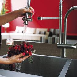 VIGO Pull-Down Spray Kitchen Faucet - VIGO Stainless Steel Pull-Down Spray Kitchen Faucet -  VG02006ST