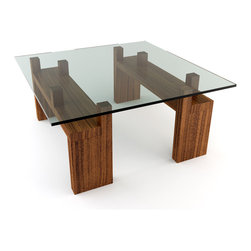 "Viesso - Knar 36"" x 36"" Square Coffee Table - With the raised pegs, the glass and design are elevated. This modern desk utilizes raised pegs to create the unique look and functionality. In contrast to the overall minimalist look, these break through and give the desk a subtle variation of texture and levels. This all creates a surface area under the glass for storage. And you thought it was just for show."