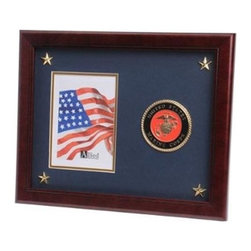 Flags Connections - U.S. Marine Corps Medallion Picture Frame with Stars - U.S. Marine Corps Medallion Picture Frame with Stars is designed to hold a single 5-Inch by 7-Inch picture. This picture is set into a double layer of Marine Blue matting with Gold trim. Each corner contains a golden star for added detail. The frame is made from Mahogany colored wood, and the outside dimensions measure 13-Inches by 16-Inches. The U.S. Marine Corps Medallion 5-Inch by 7-Inch Picture Frame with Stars is perfect for proudly displaying the picture of an individual who is serving, or has served in the U.S. Marine Corps.