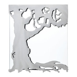 Modern Steel Glass Handmade Tree Mirror - Equal parts storybook setting and sculptural decor, this eye-catching mirror by John and Heather Zondervan brings unexpected design to your home. Made from brushed carbon steel, a beautiful tree sprawls across a wall mirror to create a work of functional art. The mirror can be easily removed so there's no need to reach between branches to clean, while the steel design lends industrial intrigue to the organic form. Handmade in Guleph, Ontario, Canada.