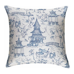 MysticHome - Pagoda - Euro Sham by MysticHome - Pretty and chic, The Pagoda brings bygone exotic sensibilities into the present, with an intricate, peaceful, countryside drama in bright white and willowy blue.  The classical toile is perfectly enrapt with the complex beauty of the lattice.  Equipoising the toile / lattice pieces, The Pagoda blends the formal, almost-preppy elegance of the crisp white / navy grosgrain bolster, skirt, and Euro, highlighting both dynamic design and exquisite craftsmanship.