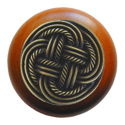 Classic Collection - Classic Weave Wood Knob in Antique Brass/Cherry