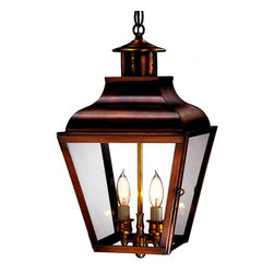 Lanternland - Portland Pendant Hanging Copper Lantern, Raw Copper, Clear Glass, 2 - 60 Watt Ca - The Portland Pendant Style Hanging Copper Lantern, shown here in our burnished Antique Copper finish with clear glass, is handcrafted in America from high quality copper or brass. This pendant style hanging copper lantern, designed to last for decades and warrantied for life, will never will never rust or corrode. Available in three standard sizes, with seven all-natural hand applied finishes and four unique glass options, this traditional pendant style hanging copper lantern goes well with traditional, Colonial and Colonial Revival style homes, lake homes and cabins.