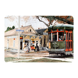 Caroline's Treasures - New Orleans Streetcar Kitchen Or Bath Mat 24X36 - Kitchen or Bath COMFORT FLOOR MAT This mat is 24 inch by 36 inch.  Comfort Mat / Carpet / Rug that is Made and Printed in the USA. A foam cushion is attached to the bottom of the mat for comfort when standing. The mat has been permenantly dyed for moderate traffic. Durable and fade resistant. The back of the mat is rubber backed to keep the mat from slipping on a smooth floor. Use pressure and water from garden hose or power washer to clean the mat.  Vacuuming only with the hard wood floor setting, as to not pull up the knap of the felt.   Avoid soap or cleaner that produces suds when cleaning.  It will be difficult to get the suds out of the mat.