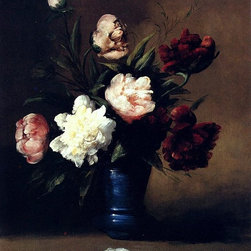 """Germain Clement Ribot Peonies In A Blue Vase - 16"""" x 20"""" Premium Archival Print - 16"""" x 20"""" Germain Clement Ribot Peonies In A Blue Vase premium archival print reproduced to meet museum quality standards. Our museum quality archival prints are produced using high-precision print technology for a more accurate reproduction printed on high quality, heavyweight matte presentation paper with fade-resistant, archival inks. Our progressive business model allows us to offer works of art to you at the best wholesale pricing, significantly less than art gallery prices, affordable to all. This line of artwork is produced with extra white border space (if you choose to have it framed, for your framer to work with to frame properly or utilize a larger mat and/or frame).  We present a comprehensive collection of exceptional art reproductions byGermain Clement Ribot."""