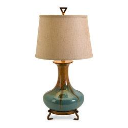Turquoise Drip Glaze Ceramic Table Lamp - *Stylish turquoise and golden brown ceramic tabletop lamp exclusive design.