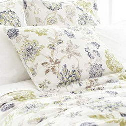 Pine Cone Hill - india gate sham (ink) - Escape to a serene cottage getaway and slip beneath the perfectly patterned covers of our strawberry hill collection featuring delicate pastels, soft linens and casually embellished pillows blending unique patterns and textures with soothing colors in subtle, comforting harmony.  Florals and paisley, pale solids and subtle dots soften the plush appearance of our duvet covers, quilts and shams to create a well-tailored bedroom.