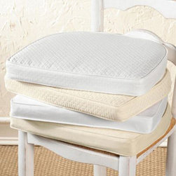 """Ballard Designs - Ballard Essentials Cushion - Petite - Hand sewn with piped edge, matching fabric ties and 1 1/2""""-thick poly foam insert. Hidden zipper makes it easy to swap Covers for a seasonal change or to remove for cleaning. Additional inserts sold separately. Imported. Velvets are dry clean; all other fabrics are machine washable."""