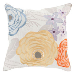 "Surya - Surya BTC-005 Pillow, 18"" x 18"", Down Feather Filler - Embodying the dazzling color palette and divine beauty of flowers in spring this perfect pillow will fashion a flawless addition to your space. Hand made in India in 100% cotton, the striking floral images placed pristinely across this exquisite piece radiates an incomparably delicate decadence from room to room within any home decor."