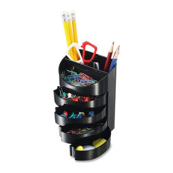 """OIC - OIC Desktop Supply Organizer, 4""""x5.6""""x3.4"""" - Supply organizer offers an efficient way to store your office supplies and organize your desktop. Four drawers swing out for access to small items such as paper clips, pushpins and more. The fifth top drawer stays open at all times for easy access. The two vertical compartments organize your scissors, rulers and writing utensils. Supply organizer is made of plastic."""