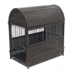 "Jeco - Large Espresso Wicker Dog House  -  Round Top - ""Our beautifully-designed wicker dog crates will compliment any decor. The wicker-style is fully functional as a safe and comfortable dog house."
