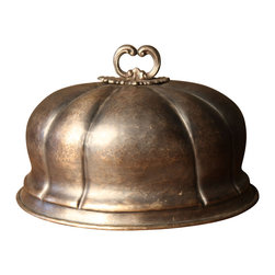 BoBo's Intriguing Objects - Serving Dome #3 - Voilà! This antique-style serving dome adds a classy flourish to dinner service, both on and for the big reveal. Made from hand-hammered brass with an antique silver finish, it's delicately beaded around the edge and on the handle.