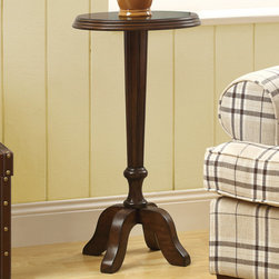 Monarch - Medium Walnut Veneer 16in.Dia Accent Table - Transform your room into a designers dream with this high end walnut veneer accent table with ample storage and a thick top.
