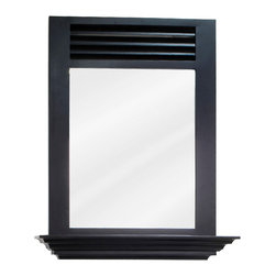 "Hardware Resources - Elements Bathroom Mirror - Espresso Lindley Mirror by Bath Elements. 25-1/2"" x 30"" espresso mirror with 4"" shelf and beveled glass. Corresponds with VAN079"