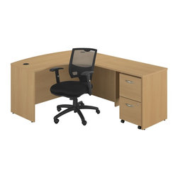 Bush - Series C Right Bow Front Desk with 2 Drawer File and Chair - Durable edge banding protects desk from bumps and collisions Description: