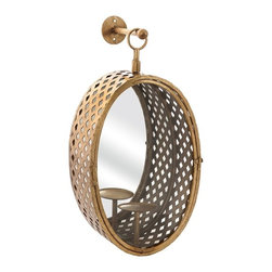 "IMAX - Crestine Mirror Candle Lantern - This hanging candle lantern features an oval shape with a modern lattice pattern in a gold finish designed by Melissa Vasquez to hold pillar candles. Try adding a pair ofeethese to any focal point in the home! Item Dimensions: (21""h x 11.5""w x 5.75"")"