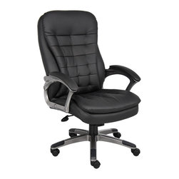 """Boss Chairs - Boss Chairs Boss High Back Executive Chair with Pewter Finished Base/Arms - Beautifully upholstered in black Caressoft plus. Pillow top cushions for added comfort. Padded arm rests. Adjustable tile tension control. Pneumatic gas lift seat height adjustment. Large 27"""" nylon base with black caps. Hooded double wheel casters."""