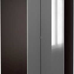 IKEA of Sweden - PAX Corner wardrobe - Corner wardrobe, black-brown, Vikedal mirror glass