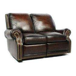 Barcalounger Premier Reclining Loveseat - Coffee - A perfect complement for traditional or transitional home decor-styles, the Barcalounger Premier Reclining Loveseat - Coffee features nail-head accents. It comes with no-sag springs, high-resilience seat foam, and padding on sides and back for comfortable seating. This leather loveseat has easy-to-use Leggett and Platt activated mechanisms and delrin bushings for durability. Additionally, its hardwood frame has mortise and tenon construction with glued joints and corner blocks. For extra comfort, the loveseat has 30 fabric-enclosed, pocket coil springs that are covered in foam and blended down feathers.About BarcaloungerBarcalounger has been committed to detail and quality since they became an industry leader in the 1940's. Barcalounger has always offered luxurious comfort, perfect balance, and fashion forward designs with chairs that just happen to recline. Barcalounger engineers know their recliners will probably get more use than any other piece of upholstered furniture in your home. That's why their standards of quality are more demanding and levels of excellence higher than other upholstery manufacturers.Over the last 70 years Barcalounger has become a household name in reclining chairs. Today's Barcalounger recliner is not your father's (or grandfather's) chair. They have built on their heritage and stellar reputation to create recliners for every lifestyle. From plush and cushy to sleek and sophisticated, there is a Barcalounger recliner to match every person and decor. Barcalounger – because you're comfortable with the best.