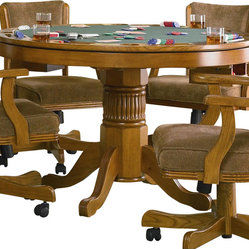 Coaster - Coaster Mitchell 3-in-1 Game Table in Oak - Coaster - Poker Tables - 100951 - Create a game room your guests will admire with the Mitchell collection. Featuring unique game tables comfortable game chairs bars and bar stools this collection will establish a fun and inviting environment. With solid oak construction for durability this group is available in either a cherry or oak finish to accommodate your stylistic needs.With highly functional and fun designs this three-in-one game table will make a great addition to your home. Relaxed style is demonstrated with delicate curves and charming carved detail in the pedestal base. The finished table top allows you to enjoy a casual meal or sip on your morning cup of coffee. Flip the top around and you will find a 42 inch dark green felt lined card table with cup holders and chip trays. If poker isn't your game the piece transforms into bumper pool table and includes pool sticks and balls!Features: