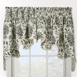 None - Eugene Duchess 2-piece Window Valance - Beautify your window with this elegant, fully-lined, floral swag valance. Soft shades of grey, black, and gold on a white background makes this corded two-piece valance a perfect choice for any window.