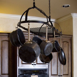 Advantage Components - Expandable Premier Oval Pot Rack Multicolor - PPR1001 - Shop for Pot Racks from Hayneedle.com! The Expandable Premier Oval Pot Rack boasts a modern design for the modern kitchen. This pot rack uses a patented rivet-and-adjust system which allows for simple customizable installation. The sleek metal arms center bar and entire length of the pot rack adjust to fit your available space and expand along with your storage needs. When you select this adjustable pot rack there is no need to measure or worry about buying the wrong size of rack. The rack includes mounting ceiling eye lags chains grid shelf pot hooks and other necessary hardware. Assembly instructions and a wrench are also included for quick easy installation. An Environmentally Friendly ChoiceWhen you purchase an Advantage Components pot rack you know you're doing something good for the environment. All of their expandable pot racks are made in the USA with recycled mini-mill solid steel bar. Now what does that mean you ask. Mini-mill bar is produced from scrap steel recycled from used automobiles and equipment or the byproducts of manufacturing. Instead of the scrap going to waste and filling up a landfill somewhere it's put to good use in the form of an attractive and practical accent for your kitchen. From start to finish purchasing an Advantage Components pot rack is an environmentally friendly process. First the pot rack is crafted from recycled steel scrap in the USA. Then because of its collapsible design the pot rack is shipped in a shallow box which requires minimal packaging materials. And finally when it arrives at your home you can recycle the packaging materials to keep the cycle going. After all that's precisely the idea. Everyone can get involved in protecting and preserving the environment.