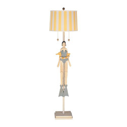 Mario Industries - Nautical Girl with Tube Floor Lamp - Light comes with a CFL bulb. Detachable hand painted wood puppets. Electric powered. Warranty: One year. Wood base. White linen shade with yellow stripes. 15 in. L x 15 in. W x 59 in. H (14 lbs.)Whimsical floor lamp puppet arms and legs move when string is pulled.
