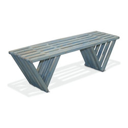 GloDea - Bench X60, Sky Blue - The Bench X60 is modern, stylish, durable, eco friendly and 100% made in the USA! This nifty bench arrives partially assembled at your home needing only a final touch to be ready for use (Less than 10 min!). Thoughtfully conceptualized by the Brazilian designer Ignacio Santos and the Colombian designer Fabi'n Ramos, the Bench X60 is crafted from Eco Friendly Premium Yellow Pine wood from Alabama, stainless Steel Nut and built to last for years if well taken care of. This versatile backless bench is perfect to be used at the entrance of your home, in your bedroom or in your closet. It's inventive design, and triangular legs give it a great stability allowing it to be used anywhere. Great as gift or as a backyard bench this trendy piece is a must have! This heavy duty yet elegant bench is made from real solid wood so there are a few natural knots on it that give it a great rustic charm! The Bench X60 is the perfect fit for your front porch and will surely get you many compliments! The longer you own it the more you will love it! The Teak Oil finish is completely natural, and protects your Bench X60 against humidity. This finish is ideal for those who want to increase the durability of their furniture whiteout warming the environment. Furthermore this finish is colorless and allows you to preserve the beautiful natural color of the Yellow Pine! But we advise you to reapply this oil finish twice a year to keep your bench good as new! All our products are packaged in recyclable double walled boxes with reinforced corners to ensure a safe transportation. We don't use any kind of extra packaging to avoid waste and the use of non-recyclable products. If you love design, care about the environment, and like trendy products, look no further, GloDea's Bench X60 is perfect for you!