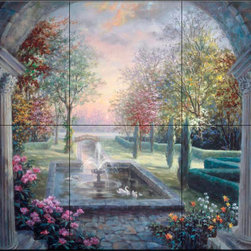 The Tile Mural Store (USA) - Tile Mural - Soulful Mediterranean Tranquility - Kitchen Backsplash Ideas - This beautiful artwork by Nicky Boehme has been digitally reproduced for tiles and depicts a garden scene with a waterfall and swans and would make a beautiful wall hanging for kitchen or patio.  This garden tile mural would be perfect as part of your kitchen backsplash tile project or your tub and shower surround bathroom tile project. Garden images on tiles add a unique element to your tiling project and are a great kitchen backsplash idea. Use a garden scene tile mural for a wall tile project in any room in your home where you want to add interesting wall tile.