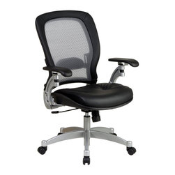 Space Seating - Leather Upholstered Office Chair w Air Mesh G - Sleek leather and a platinum finished base combine to give this chair a chic modern style.  The air grid back features lumbar support and is a perfect choice for extra support.  The contoured seat is a great companion to the lumbar support, and features height adjustment.  This chair is sleek and professional.  Features a platinum finish base with dual wheel carpet casters for sturdy mobility. * Thick Padded Contour Leather Seat and Air Grid Back with Adjustable Lumbar Support. One Touch Pneumatic Seat Height Adjustment. 2-to-1 Synchro Tilt Control. Top Grain Leather. Platinum Finish Arms with PU Pads. Platinum Finish Aluminum Base with Dual Wheel Carpet Casters. Seat Size: 20W x 20D x 4T. Back Size: 21W x 23H x 1.25T. Overall Max: 44H x 27.5W x 27D