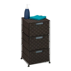 3-Drawer Wheeled Cart - Honey-Can-Do OFC-03417 3-Drawer Chest, Espresso. Getting organized has never looked better with this impressive double woven chest. This storage unit has three spacious drawers with handles to hold clothes, tools, office supplies or anything else that needs tucked away. A soft top surface provides even more storage space and can double as a night stand. Coordinates with other pieces in Honey-Can-Do's collection of double woven products.