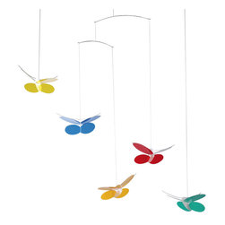 Flensted Mobiles - Butterflies Mobile - Butterflies never fail to brighten a mood, and these will brighten a room, too! This romantic butterfly mobile is suitable for a sun porch as well as a any child's room. This mobile is mounted on strings and pre assembled with the hanger system. You just need to click the single elements together. Spend fun time with your child.