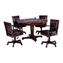 Hillsdale Furniture - Hillsdale Ambassador 5-Piece Game Table Set - Hillsdale furniture takes your game room to a whole new level with our Ambassador game table and chairs. Our multi-functional offers a flip top table that allows for a dining surface on one side and a game surface complete with chip trays and drink holders on the other. Feel like checkers or chess? Take off the entire top, and you'll find a built in board. Also, you will sit at your new table in comfort on the upholstered back adjustable height, tilt, and catered arm chair. Finally, a collection that is not only functional and affordable, but attractive. The Ambassador features a rich cherry finish, supple brown leather, a rectangle back chair and transitional design elements. This collection is the perfect way to turn your kitchen or dining room into an entertainment hot spot for friends, family and fun.
