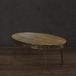 Oval Industrial Reclaimed Wood Coffee Table - Oval Industrial Coffee Table (Industrial Collection)