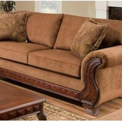 Chelsea Home Jefferson Sofa - Balvenie Tobacco - Traditional looks have never been more beautiful than in the Chelsea Home Jefferson Sofa - Balvenie Tobacco. Elegant curves and warm wood accents make this piece a showstopper worthy of your style. The rich tobacco upholstery adds a soft and sensual appeal.About Chelsea Home FurnitureProviding home elegance in upholstery products such as recliners, stationary upholstery, leather, and accent furniture including chairs, chaises, and benches is the most important part of Chelsea Home Furniture's operations. Bringing high quality, classic and traditional designs that remain fresh for generations to customers' homes is no burden, but a love for hospitality and home beauty. The majority of Chelsea Home Furniture's products are made in the USA, while all are sought after throughout the industry and will remain a staple in home furnishings.