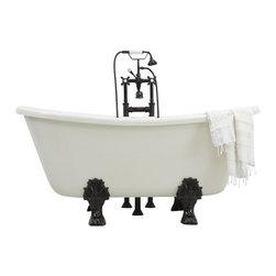 "The Tub Studio - 'OTTAVIO' CoreAcryl BISCUIT/BISQUE Acrylic Bateau Clawfoot Tub, 73"" Length - Product Details"