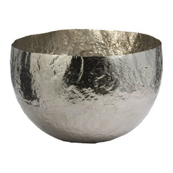 Lazy Susan - Lazy Susan LZS-346018 Hammered Nickel - Plated Brass Bowl - Looking for a decorative bowl in which to place your collection of sea glass? Or simply an unusual piece of art with which to adorn your home? Either way this gorgeous hammered-nickel plated glass bowl will delight. It comes in two sizes.