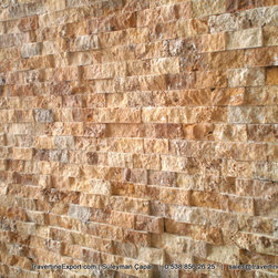 Split Face Stone Veneers Natural Stone - Travertine Wall Tiles, Natural Stone Split Face Wall Cladding Tiles, Stone Veneers Tiles,