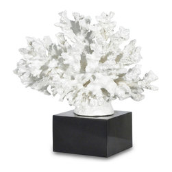Palecek - Branch Coral On Black Base,White - Faux coral with white finish on glossy black square base. Coral is made from polyresin.