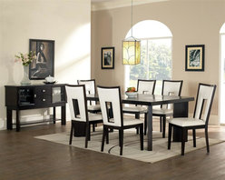 Steve Silver Co. - Delano Dining Table Set w 18 in. Leaf, Server - Includes: 1 Table, Leaf, 6 Chairs & 1 Server. 18 in. extension leaf. Sleek and contemporary look. Cracked glass insets. Rich Espresso finish. Turned out legs. Server has 2 glass doors & 2 drawers. Corner block construction. Tongue and groove joints. Select hardwood solids material. Some assembly required. White vinyl seat upholstery. 18 in. seat height. Expands to 78 in. L. Table: 60 in. L x 44 in. W x 30 in. H (136.4 lbs.). Chair: 19 in. L x 23 in. W x 40 in. H. Side board: 52 in. W x 18 in. D x 36 in. H (156.2 lbs.)