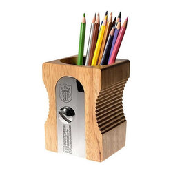 Suck Uk - Pencil Pot - Sharpen your writing skills with this clever pencil and pen holder. Shaped like a giant pencil sharpener it will be hard to miss but even harder to resist using.